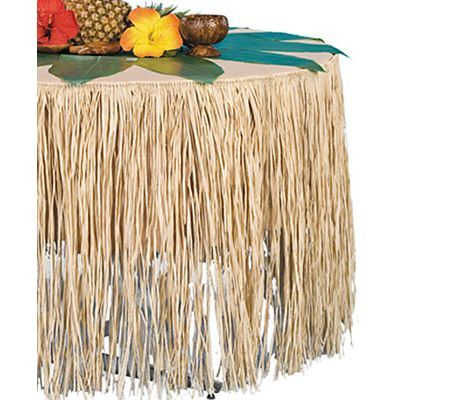 Natural Paper Raffia Table Skirt 9ft Party City Luau