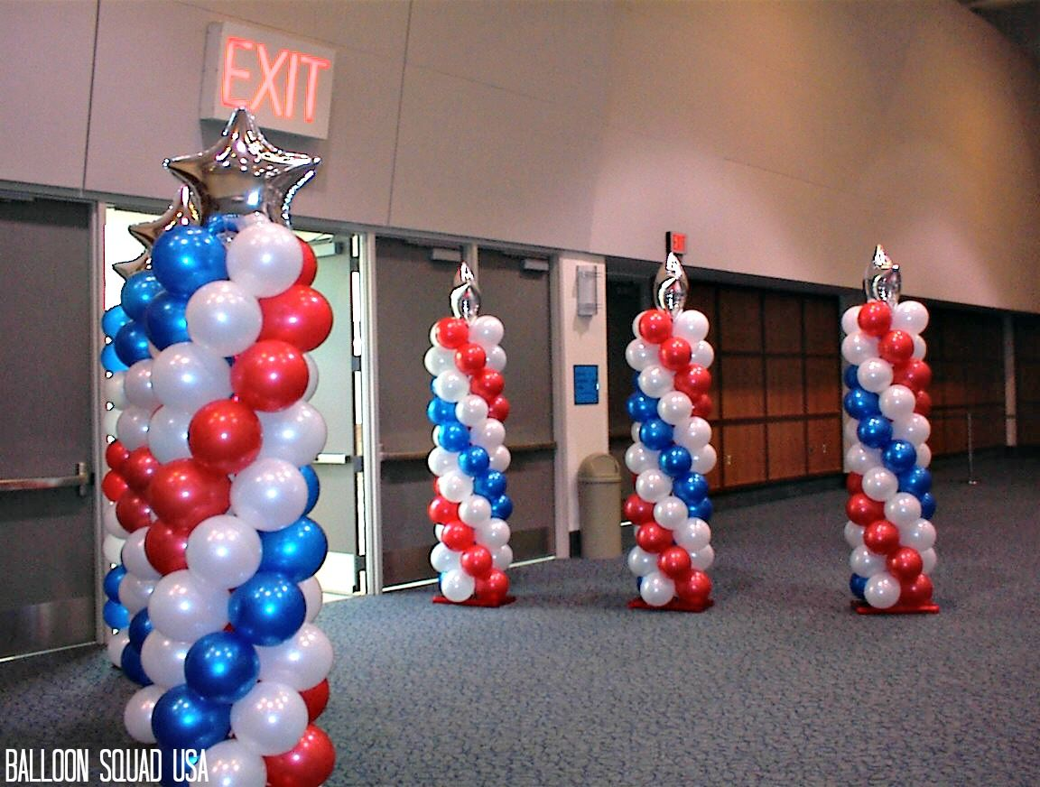 Red white and blue balloon columns Patriotic