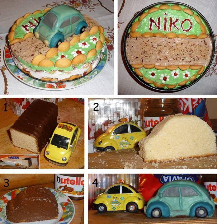 Inšpirácia na narodeninovú tortu - piškótová torta s marcipánovým autíčkom (viac sa zobrazí po kliknutí na obrázok)