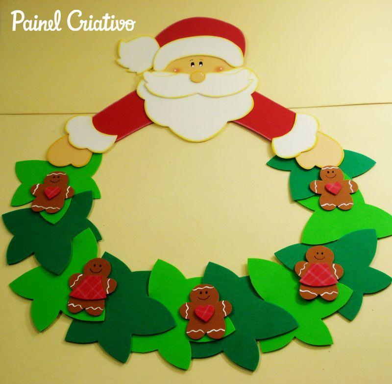 Artesanal Em Ingles ~ Como fazer enfeite natal guirlanda papai Noel decoraç u00e3o casa sala de aula escola EVA Natal