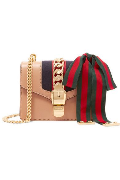 065ef93b8 GUCCI Sylvie Mini Chain-Trimmed Leather And Canvas Shoulder Bag. #gucci  #bags…