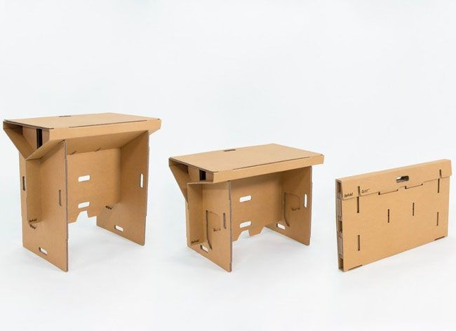 refold a foldable recyclable portable cardboard standing desk
