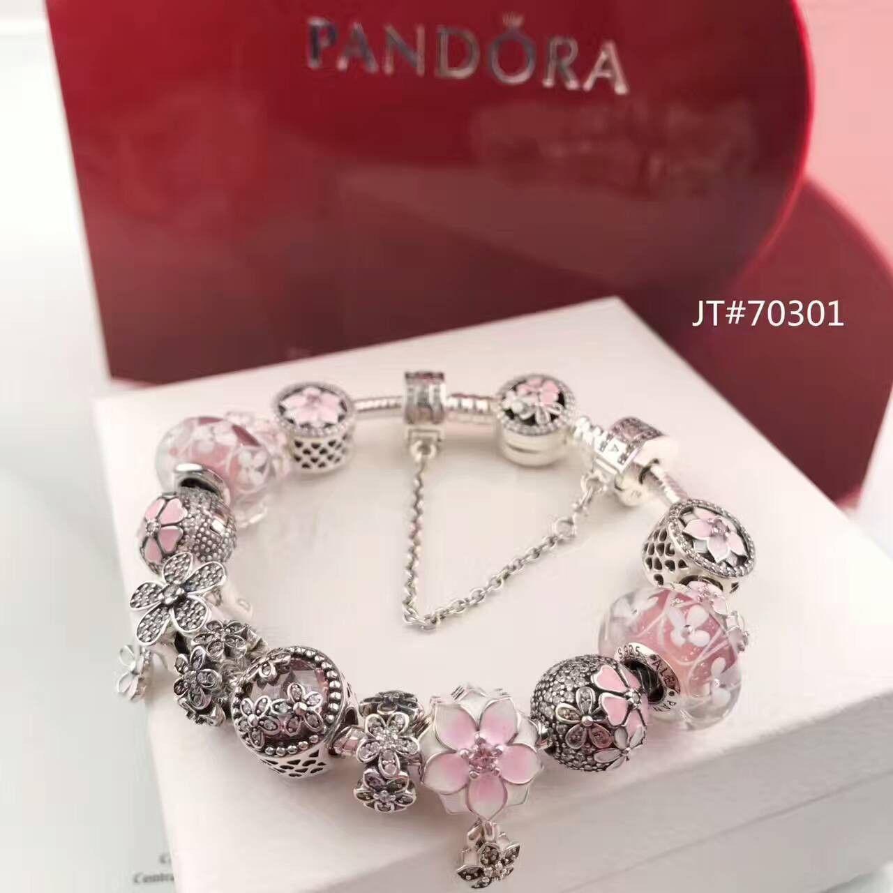 42092ddf8 pandora charm bracelet with poetic blooms clasp flower theme $225 ...