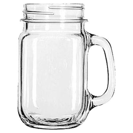 Serve hot mulled cider or chilled sweet tea in this 16-ounce drinking jar, showcasing a charming handled design.   Product: Set...