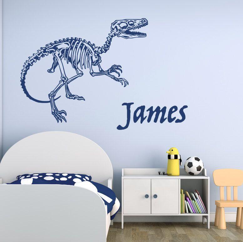 Raptor Skeleton Dinosaurs Vinyl Wall Decal Custom Name Option - Custom vinyl wall decals dinosaur
