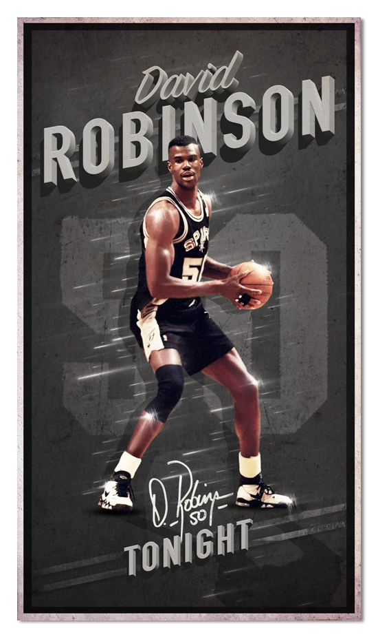 Nba Legends Tribute Posters Mixing Vintage With Modern Style Nba Legends David Robinson Basketball Legends