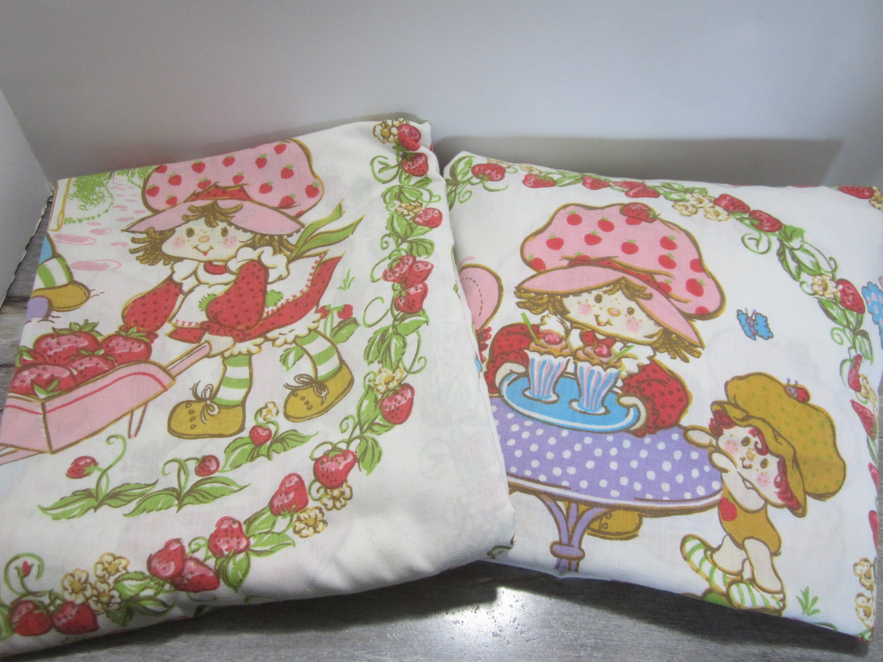 Vintage 1980's Strawberry Shortcake Twin Bed Sheets