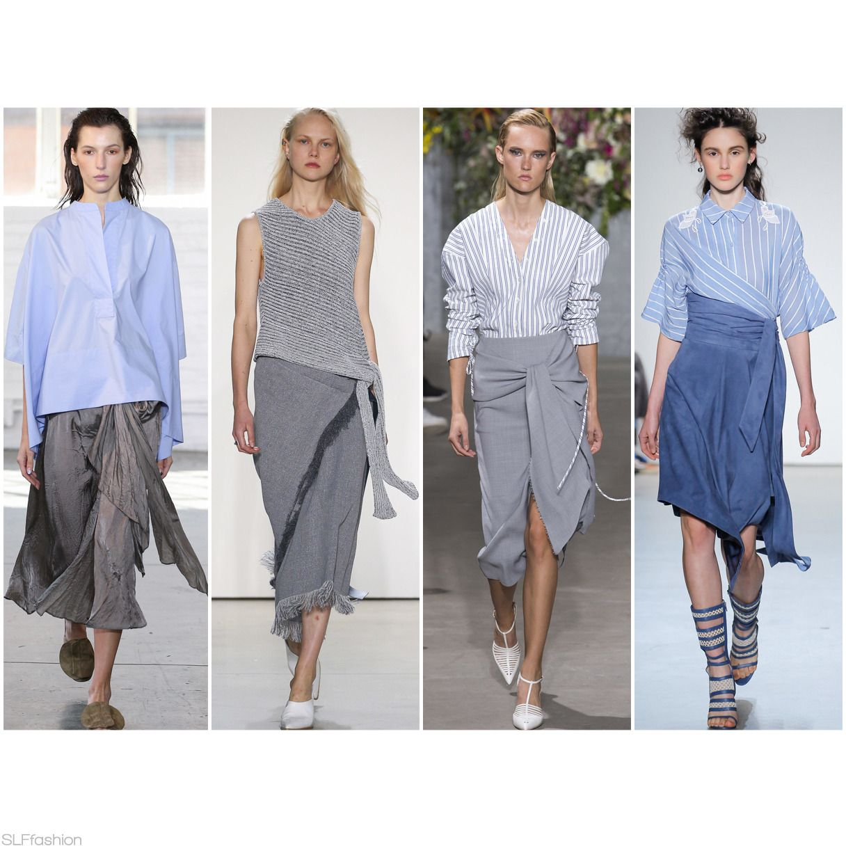 Skirt Trend at New York Fashion Week #SS18 : Casual wrap skirts. Creatures  of
