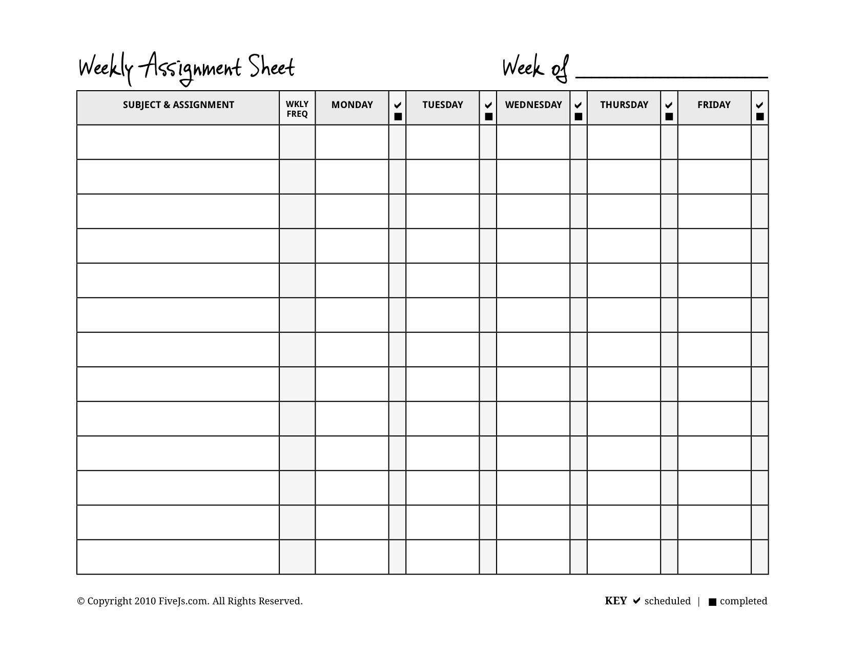 Homeschool Weekly Assignment Planner  Pdf Homeschool And Students