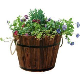 Buy Wooden Barrel Garden Planter At Argos Co Uk Your Online Shop For Planters With Images Barrel Garden Planters