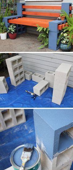 Gartenbank aus Schalteinen und Holzbrettern | Garden Art | Pinterest ...