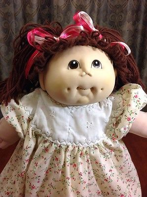 Cabbage Patch Kid Doll Handmade 1986 Vinyl Face Brown Hair