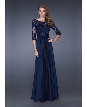 Navy Blue Long Sleeves Evening Gown With Lace Appliques Bodice ...