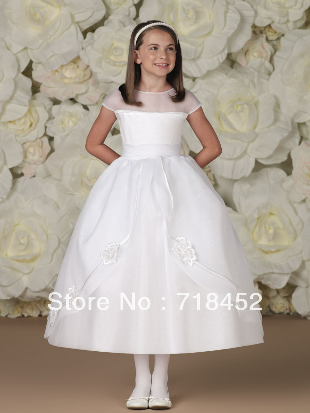 Click to buy ucuc beautiful white organza short sleeve girls