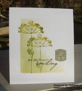 one layer card...three greens...wildflowers...