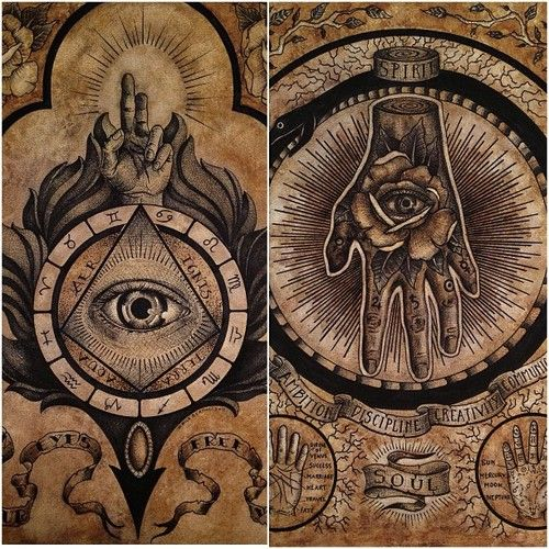 Tattoo Tatouage Oeil Triangle Main Eye Hand Retro Vintage Esoteric