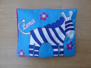 AnnA's Minnis: Körnerkissen Zebra mit Namen