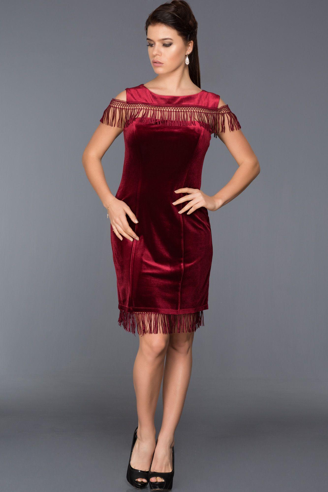 Bordo Puskullu Kadife Elbise Abk244 Kisa Elbiseler Elbise The Dress