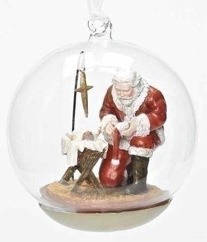 sold out jesus and santa christmas ornament star resin glass globe 4 12 - Santa Claus And Jesus 2