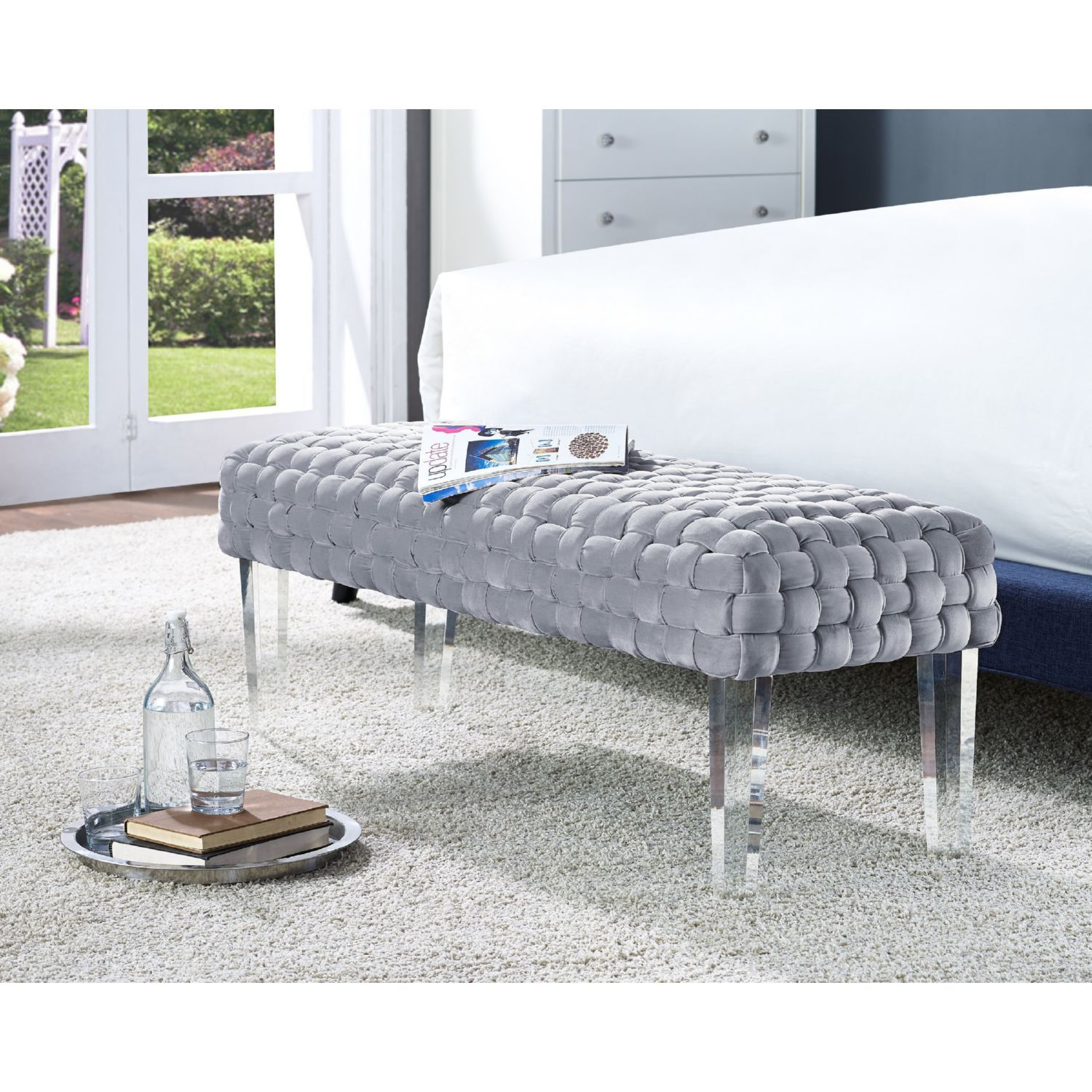 Tov Furniture Sal Bench In Woven Grey Velvet W Acrylic