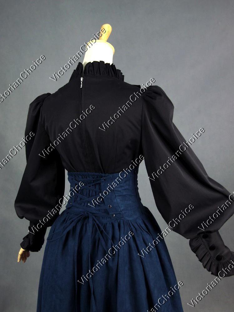 Women Victorian Downton Abbey Riding Shirt Blouse Steampunk Theater Costume