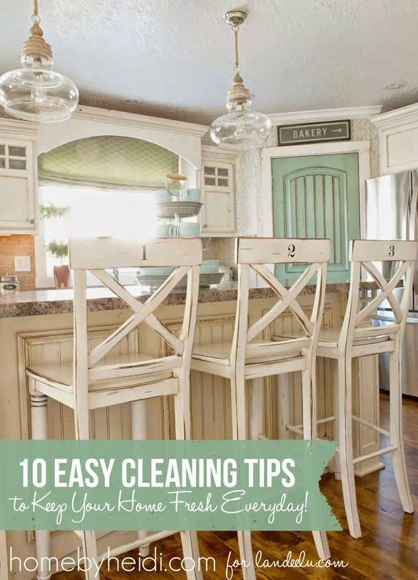 10 Easy Cleaning Tips Trendy Farmhouse Kitchen Farmhouse Bar Stools Kitchen Bar Stools