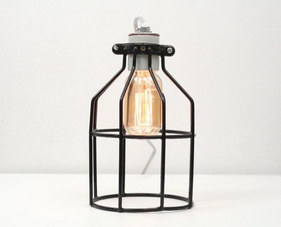 Industrial Cage Table Lamp Industrial Table by WorleysLighting, $59.00