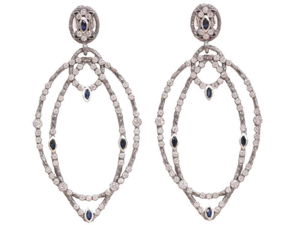 Armenta New World Two-Tone Hoop Earrings with Champagne Diamonds r3dlX