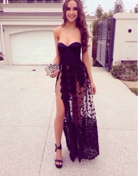 8eea7e55ec8 dress strapless black dress black prom dress sweetheart high slit dress  prom sheer girl hair brunette floral black prom dress smile happy clutch  slit slit ...