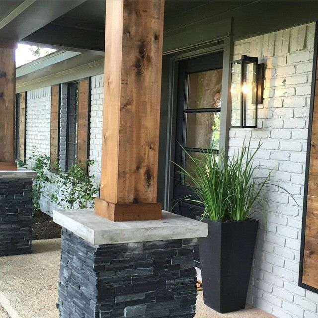 Wood Accents Home Pinterest Brick Ranch Home And Ranch Exterior