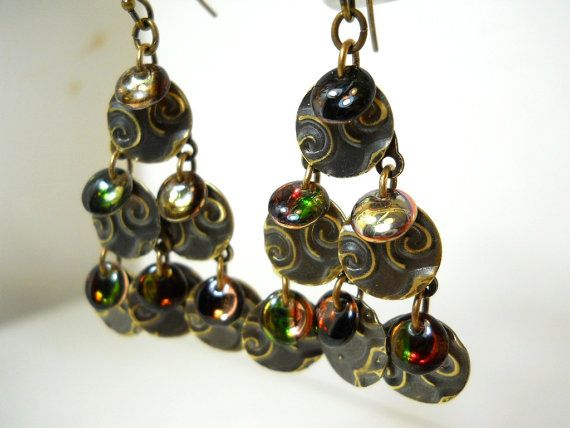 Beaded Chandelier Brass and Glass Earrings by ChelseaGirlDesigns