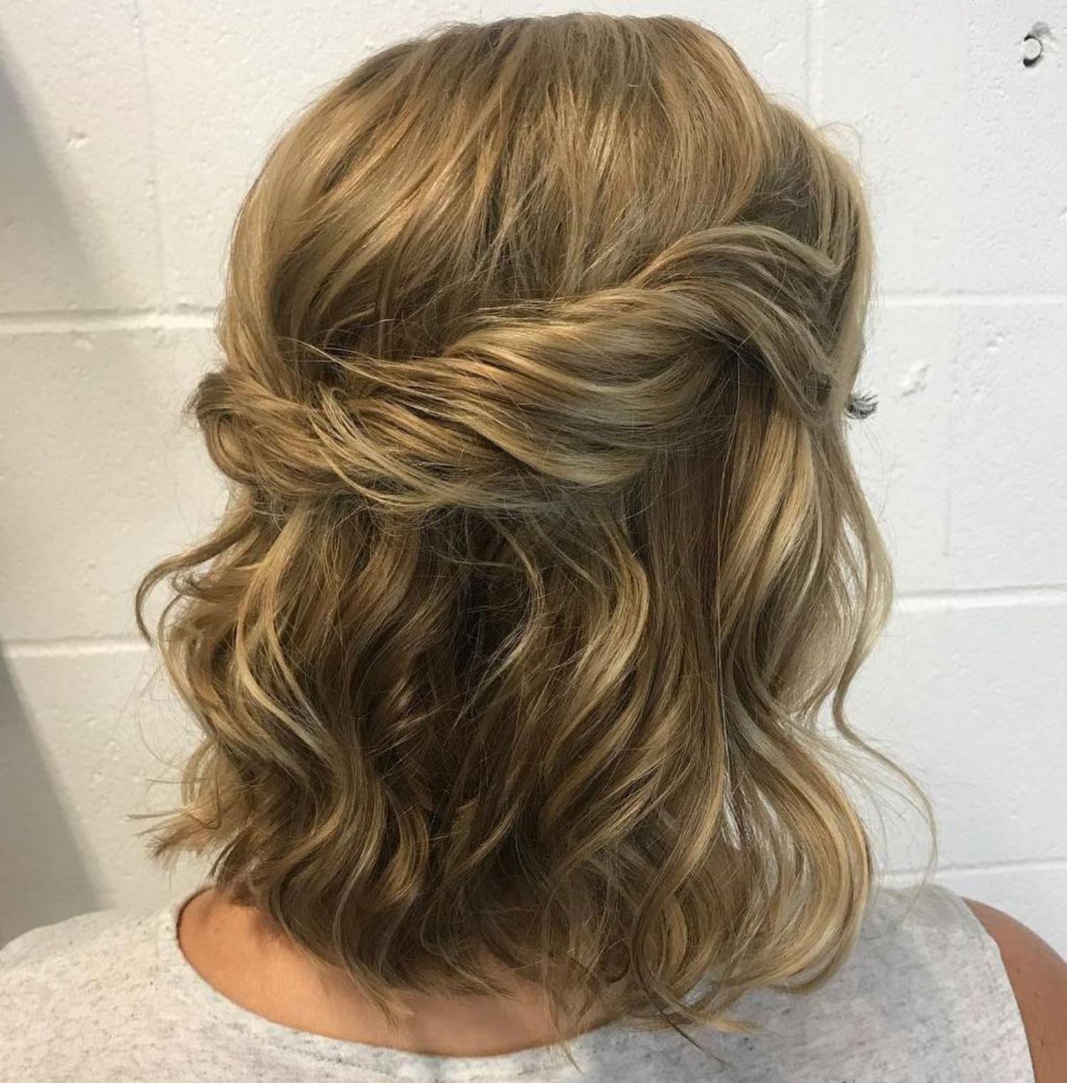 Wavy Half Up Half Down Hairstyle Medium Length Hair Styles Hair Styles Updos For Medium Length Hair