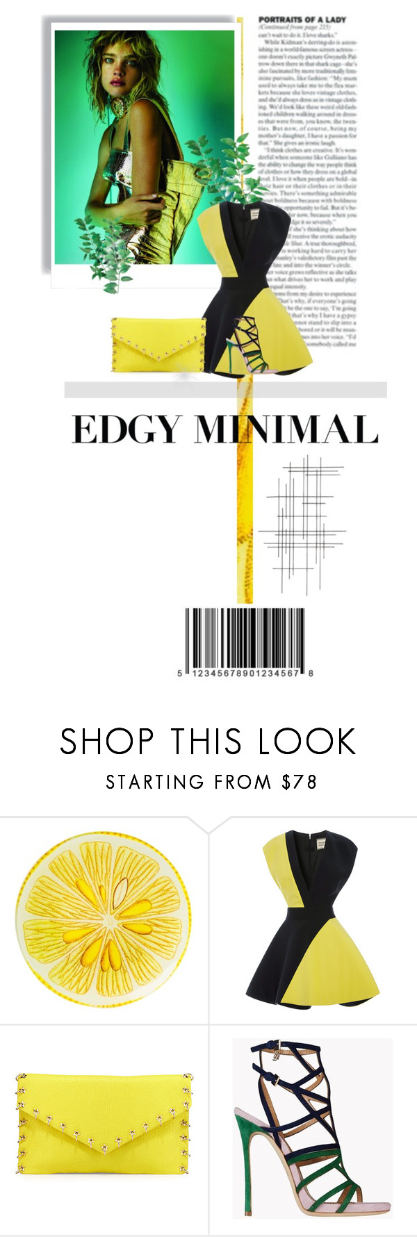 """Mostly Minimalistic"" by fl4u ❤ liked on Polyvore featuring John Derian, FAUSTO PUGLISI, Ash, Dsquared2, Crate and Barrel, yellow, partystyle, Puglisi, blokprint and mostlyminimal"