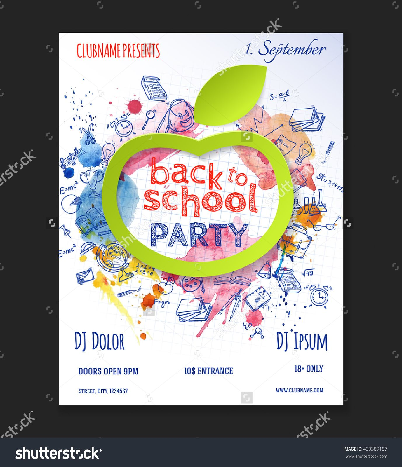 back to school party flyer design with doodle elements and paper apple vector template of. Black Bedroom Furniture Sets. Home Design Ideas