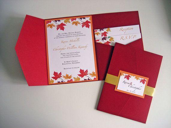 Pocket Fold Wedding Invitation Set  Falling in by designedbyme, $5.50