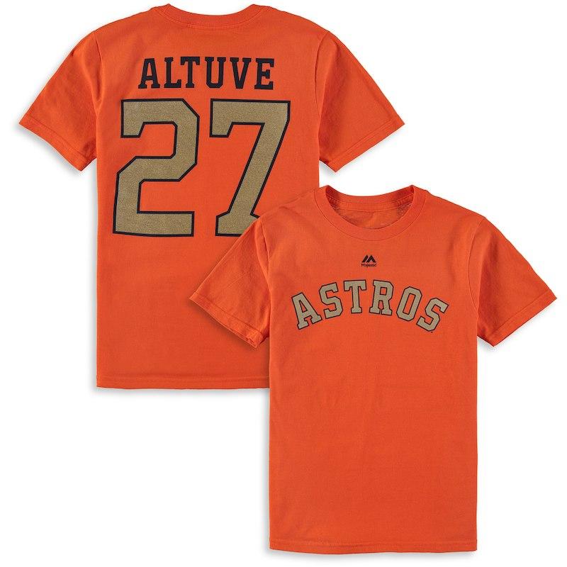 d7112ea4c Jose Altuve Houston Astros Majestic Youth 2018 Gold Program Name   Number T- Shirt – Orange
