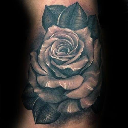 White Realistic Inner Arm Male Rose Tattoo Design Ideas
