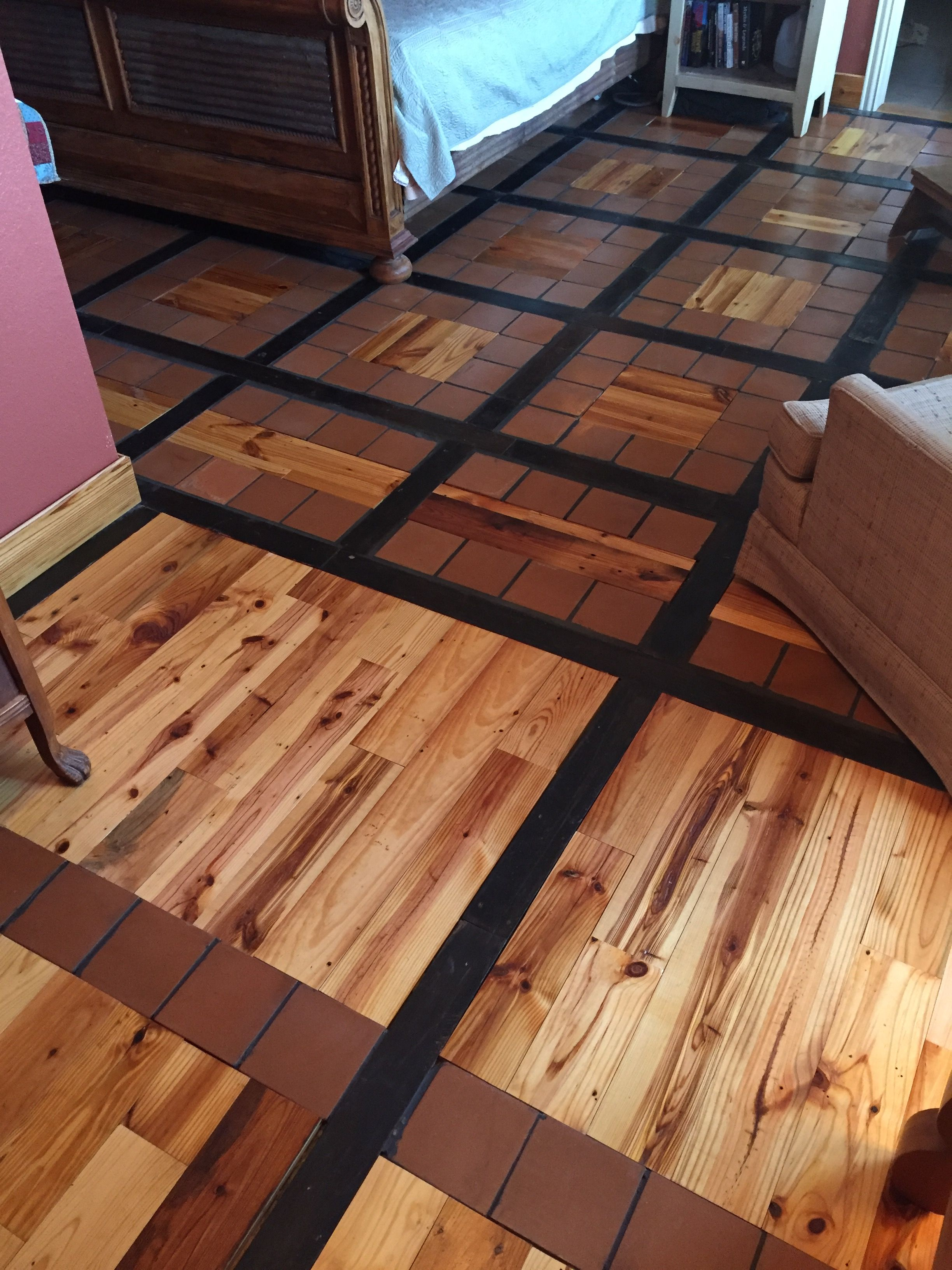 Our new master bedroom floor we did ourselves. Reclaimed pine tongue ...