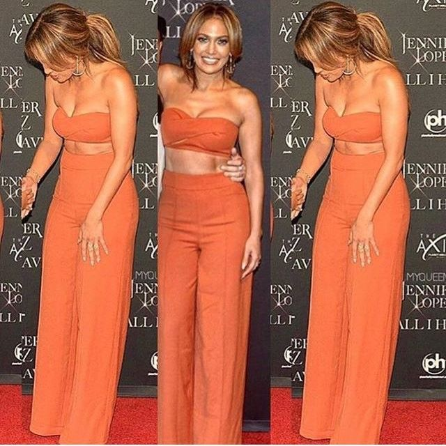 b5e59abdd0a2 JENNIFER LOPEZ RUSSETT TWO PIECE BUSTIER JUMPSUIT TROUSET SET RED BLACK…