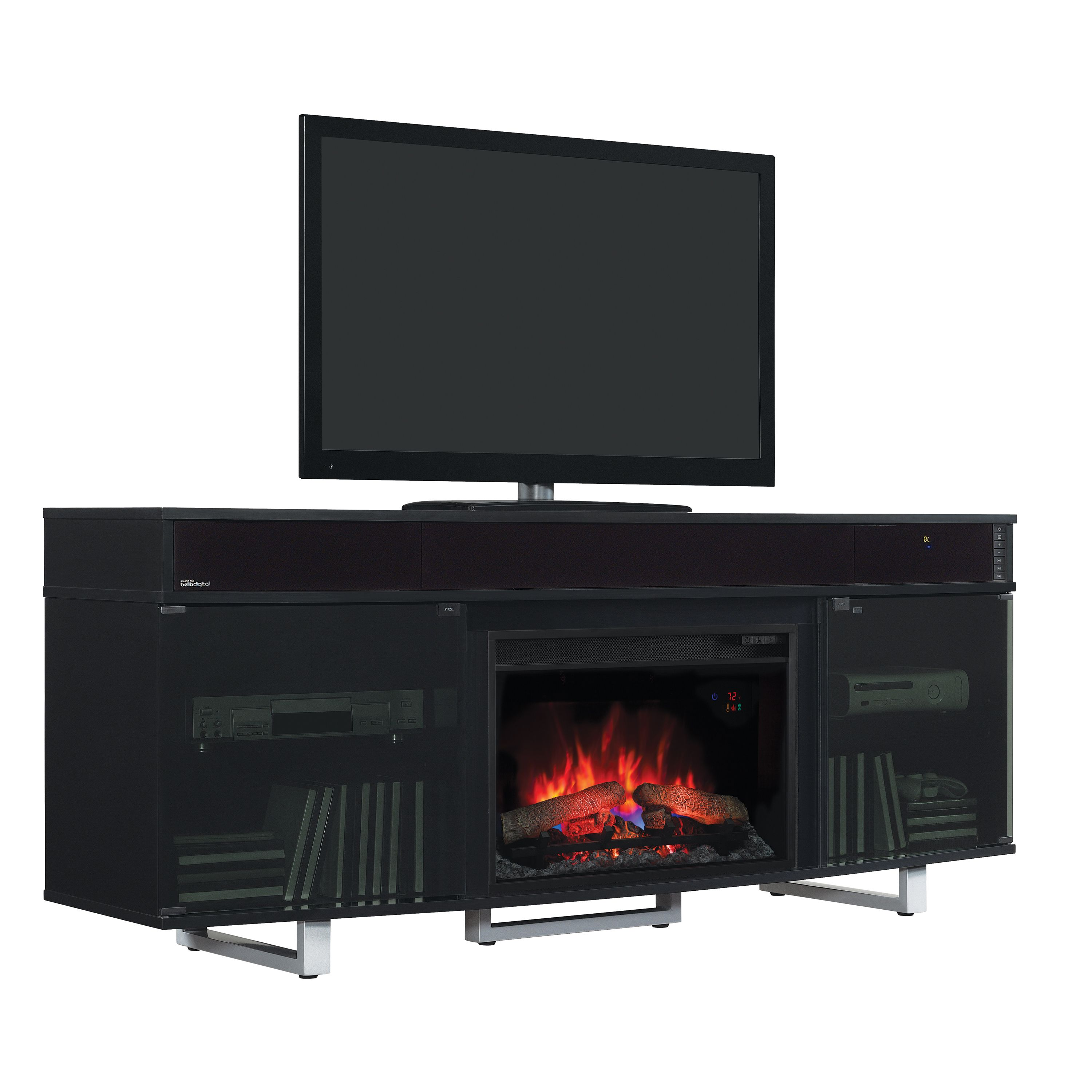 Star Enterprise Lite Contemporary TV Stand with 26-inch Electric Fireplace - Gloss