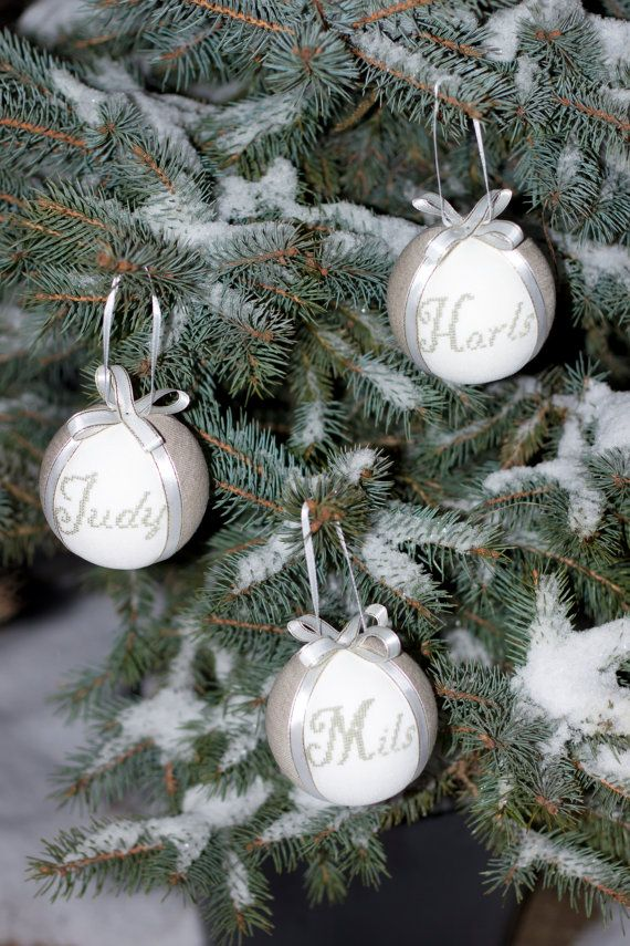 Christmas decor personalized  tree ball  natural linen covered with cross stitch name