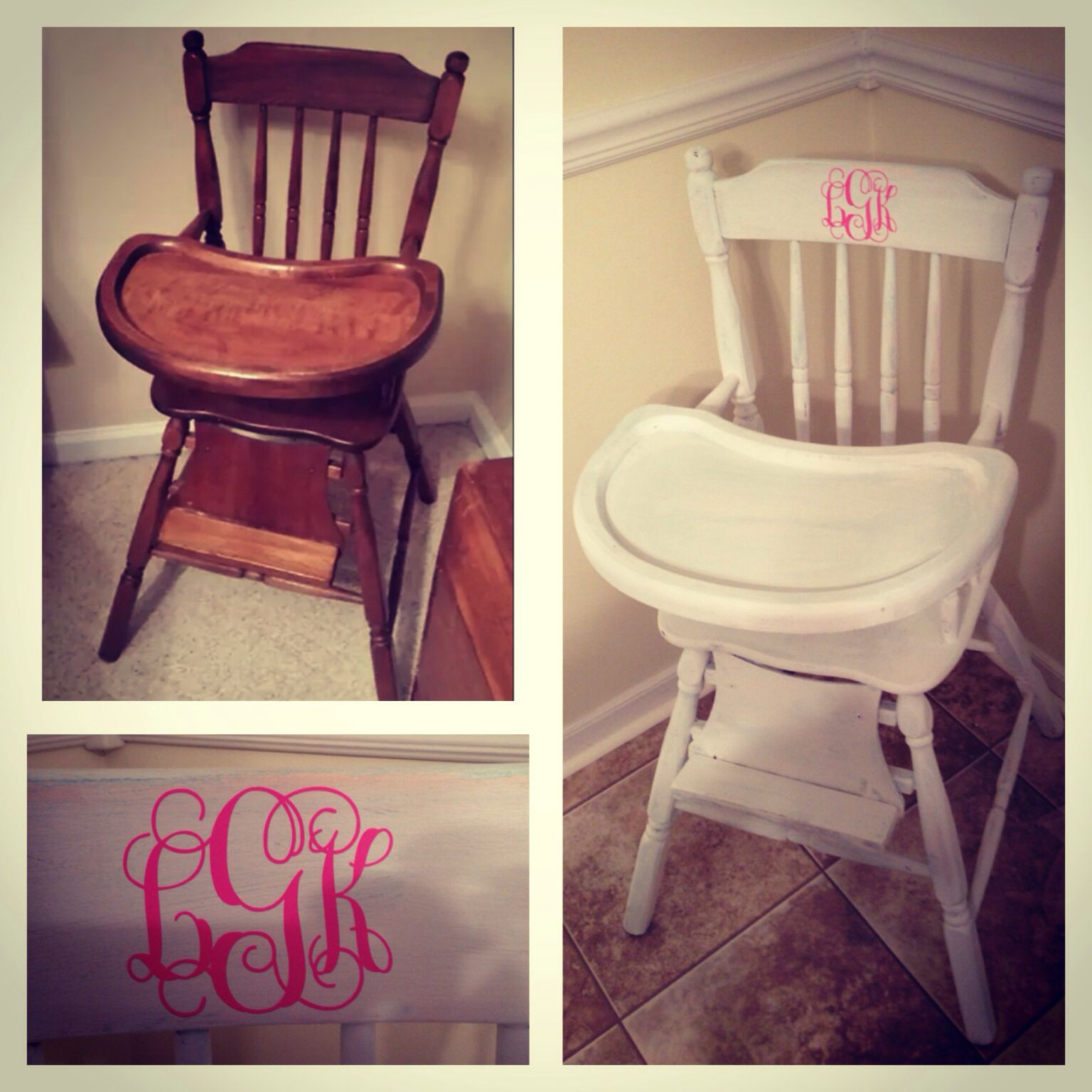 $25 vintage wooden high chair distressed with white chalk paint