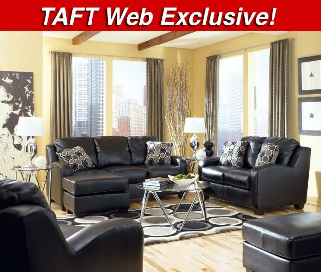 The Black Dewitt Leatherblend Sofa Chaise Taft Web Store Exclusive Item Is Available Exclusively Onlin Living Room Leather Leather Living Room Set Furniture #taft #furniture #living #room #set