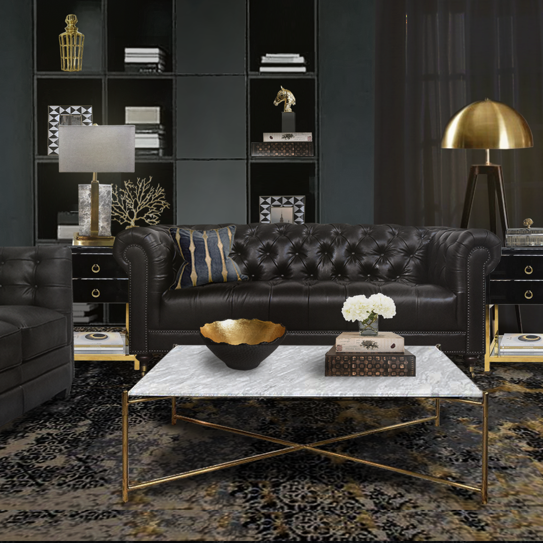 Finn Avenue Luxury Collection Gold Living Room Decor Gold Living Room Black Living Room Decor