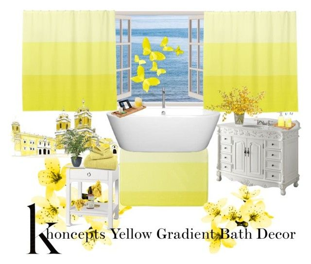 Khoncepts Yellow Gradient Bath Decor by khoncepts on Polyvore featuring polyvore, interior, interiors, interior design, home, home decor, interior decorating, Bungalow 5, Izod, Oxford Brush Company, The French Bee, Wyndham Collection and yellowgradient