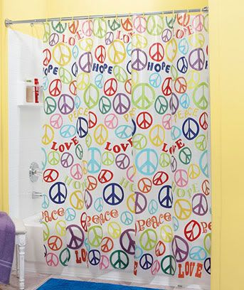 Teen Retro Peace Sign Bathroom Bright Colorful Shower Curtain