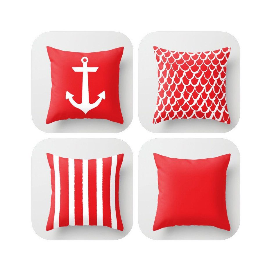 OUTDOOR Throw Pillow . Red Mermaid Pillow . Coastal Patio Cushion . Anchor  Pillow . Stripe