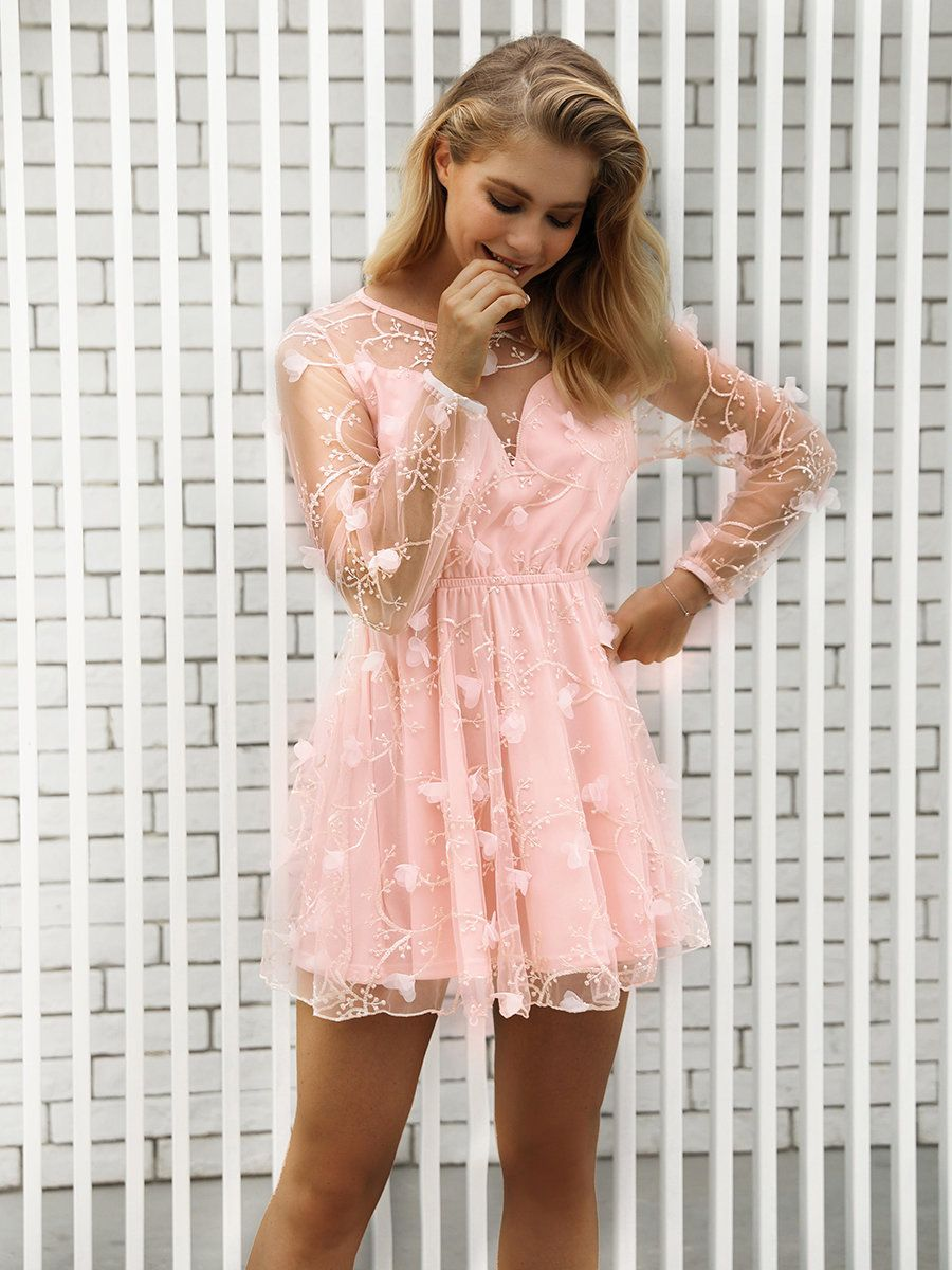 New Eva S Fave Summer Pink Semi Formal Short Dress With Sheer Embroidery Formal Dresses Short Summer Formal Dresses Dresses [ 1200 x 900 Pixel ]