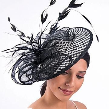 For the Derby! Black, White, Grey Woven Profile Fascinator