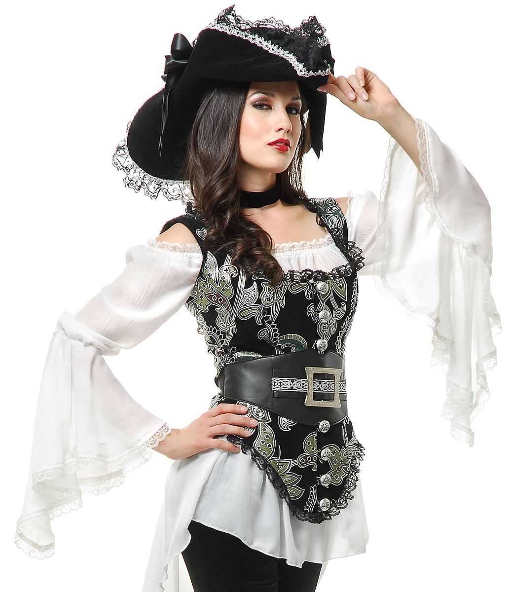 98c7508344d Womens Pirate Costume Pirate Lady Vest - I really like the white shirt